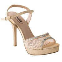 bf86c565575 Product Image Sweetie s Shoes Champagne Lace Jeweled Camilla Elegant Sandal