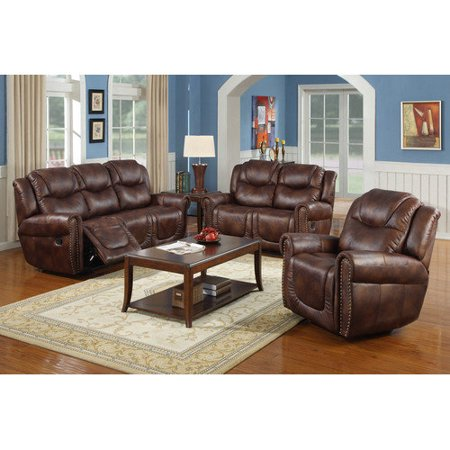 furniture toledo 3 piece bonded leather reclining living room sofa set