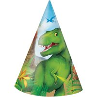 Dinosaur Party Hats, 8ct