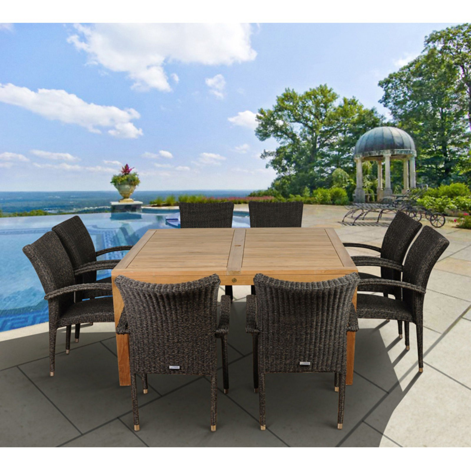 Amazonia Glenwood 9 Piece Teak/Wicker Square Patio Dining Set