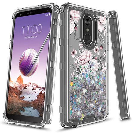 LG Stylo 4 Case, LG Stylo 4 Plus case, KAESAR Hybird Graphic Designed  Gradient Quicksand Glitter Liquid Floating with Frame Bumper Protective  Armor