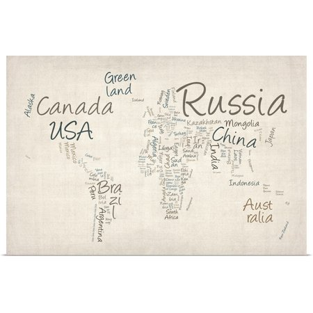 Great BIG Canvas | Rolled Michael Tompsett Poster Print entitled World map with countries made up of text (Best Made Up Country Names)