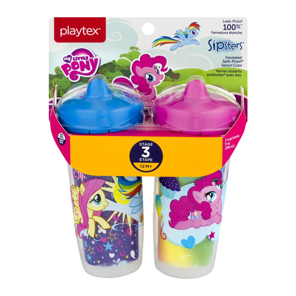 Playtex Sipsters Stage 3 Insulated Hard Spout Sippy Cup - My Little Pony, 2 pack