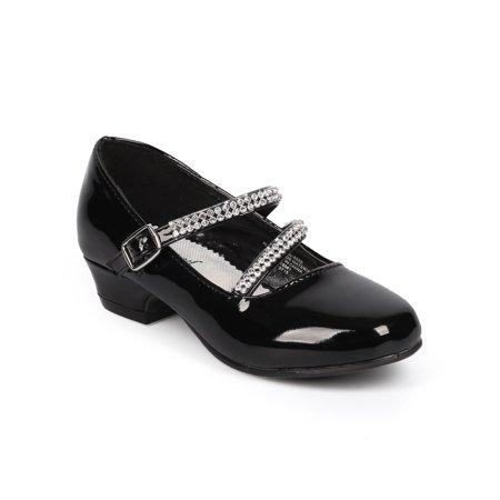 Little Angel DB64 Patent Rhinestone Mary Jane Kitten Heel Pump (Toddler/ Little Girl/ Big Girl) - Mary Jane Pumps With Chunky Heel