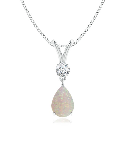 October Birthstone Pendant Necklaces Prong Set V Bale Diamond and Opal Drop Pendant in 950 Platinum (7x5mm Opal)... by Angara.com