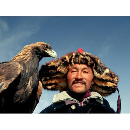 Takhuu Head Eagle Man, Altai Sum, Golden Eagle Festival, Mongolia Print Wall Art By Amos