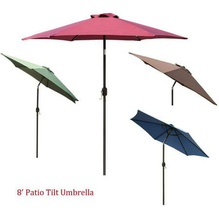 8FT 6 Ribs Outdoor Patio Garden Sun Proof Umbrella Yard Beach w/ Crank Tilt ()