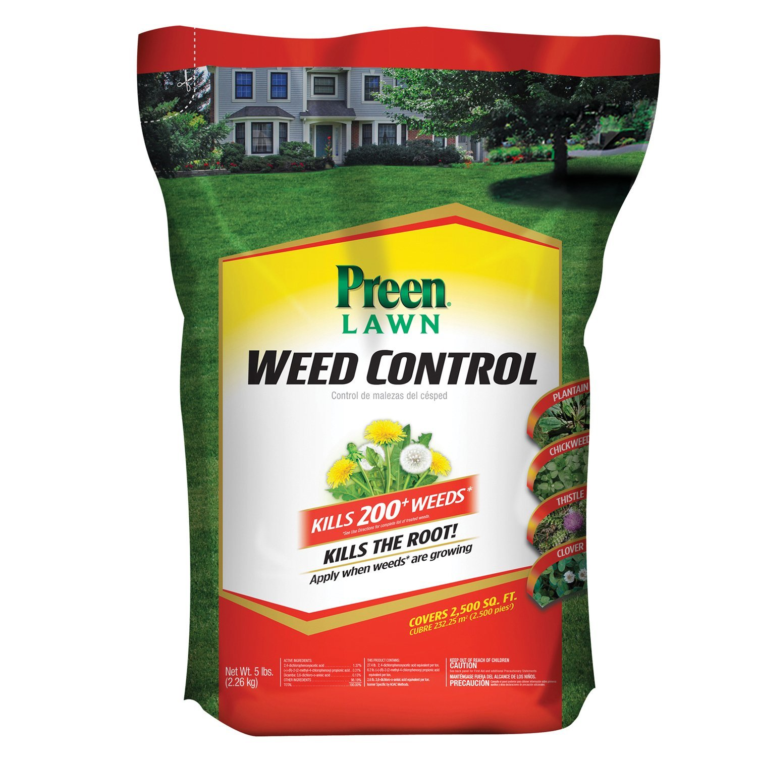 Preen Lawn Weed Control, 5 lb bag covers 2,500 sq ft
