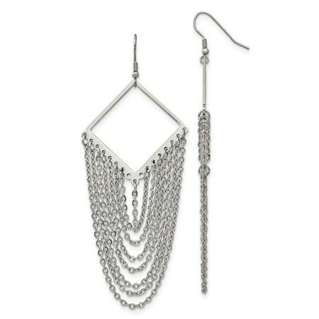 Stainless Steel Diamond Shape w/Dangle Chain Earrings
