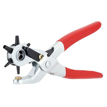 Revolving Punch - Heavy Duty Leather Hole Punch Tool - Revolving For Quick Size Adjustment Plier - 6 Sizes Puncher -By Katzco