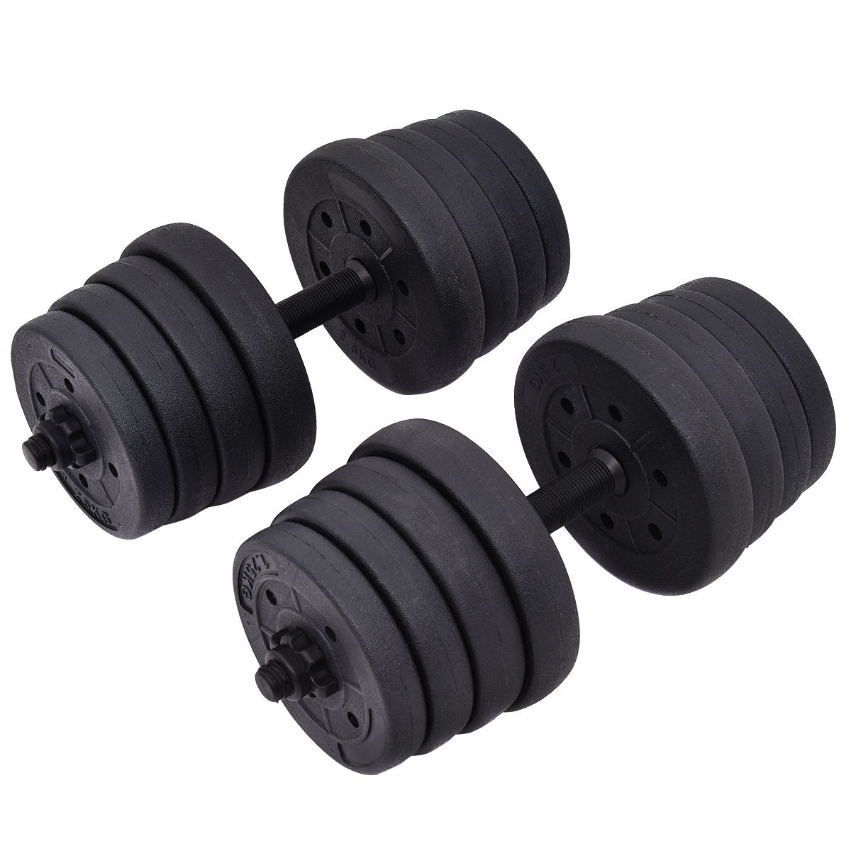 Costway 66LB Weight Dumbbell Set Adjustable Cap Gym Barbell Plates Body Workout Training by Costway