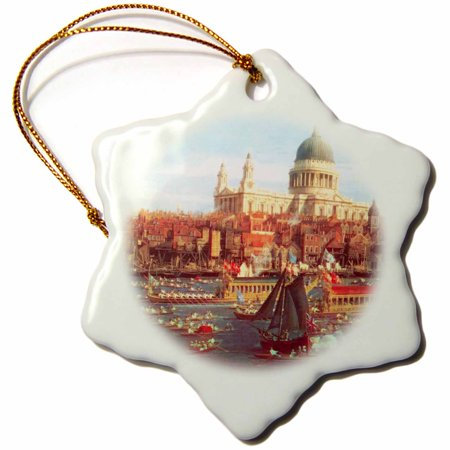 3dRose The River Thames with St. Pauls Cathedral on Lord Mayors Day by Canaletto 1747 England London art, Snowflake Ornament, Porcelain, 3-inch ()