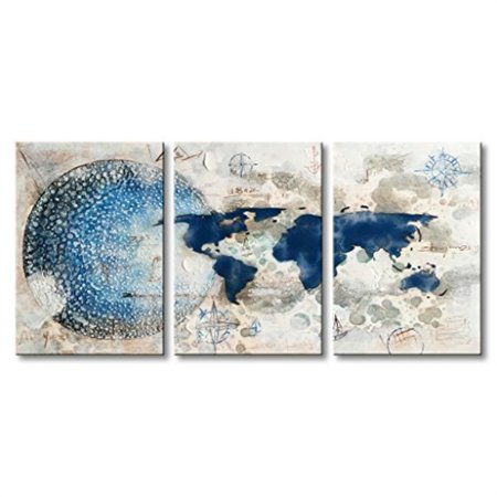 Everfun Handmade Oil Painting On Canvas Abstract Earth Artwork Modern Blue And White World Map Wall Art 3 Panelstretched On Wood
