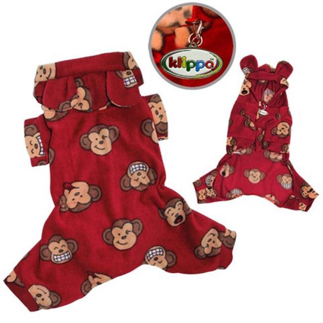 Klippo Pet KBD034MZ Adorable Silly Monkey Fleece Dog Pajamas & Bodysuit With Hood, Burgundy - Medium