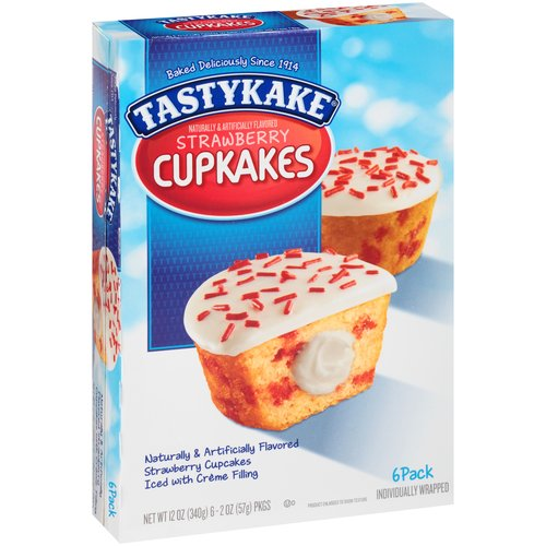 Tastykake Strawberry Cupkakes, 2oz, 6 count