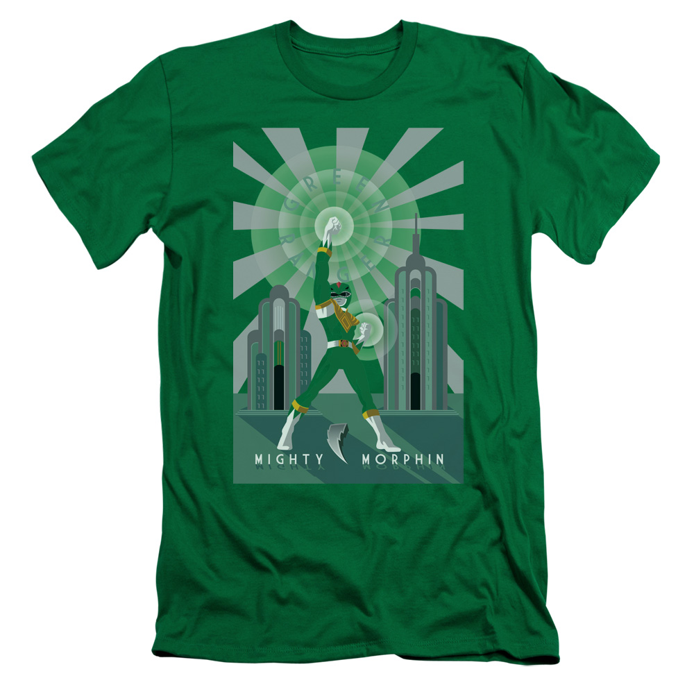 Power Rangers/Green Ranger Deco S/S Adult 30/1 Kelly Green Pwr129