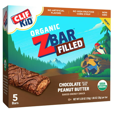 (2 Pack) Clif Kid® Organic ZBar Filled Chocolate Filled with Peanut Butter Baked Energy Snack 5 ct Bars