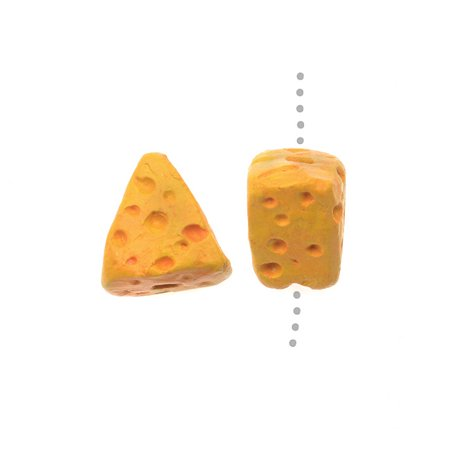 Hand Painted Ceramic Beads - Small Cheese Wedge 10x9.5mm - Pack of 2 - Small Beads