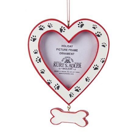 Kurt Adler Dog Heart Picture Frame - Bone Dangle and Paw Prints Ornament