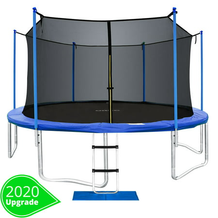 ORCC New Upgrade 15 14 12 10 FT Trampoline with Safety Enclosure Net Wind Stakes Rain Cover Ladder,Outdoor Trampoline with TUV Certificated,Best Gift for Kids