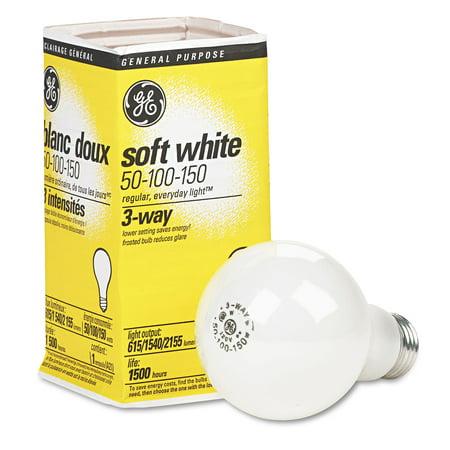 GE Lighting Three Way 50/100/150 Watts Soft White Incandescent Light Bulb (Pack Of 12)