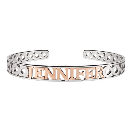 - Personalized Women's Sterling Silver Two-tone Gold or Rose Gold Name Bangle