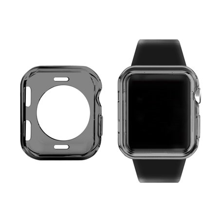 For Apple Watch Series 4 TPU Case Bumper Protective Case Slim [40mm],iClover Soft Slim Lightweight TPU Full Body Cover for iWatch Series 4 Transparent Black Black Full Body