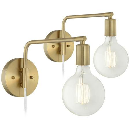 360 Lighting Amara Antique Brass Wall Lamp Set of