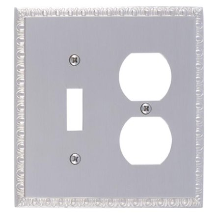 Satin Brass Double Handlebar (BRASS Accents M05-S7540-619 Egg & Dart Double Outlet Combo Satin Nickel Switchplates )