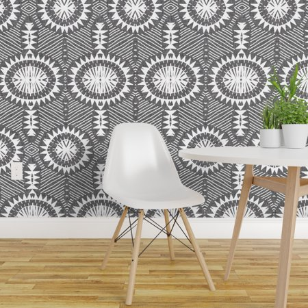 Peel and Stick Removable Wallpaper Geo Line Geometric Tribal Grey