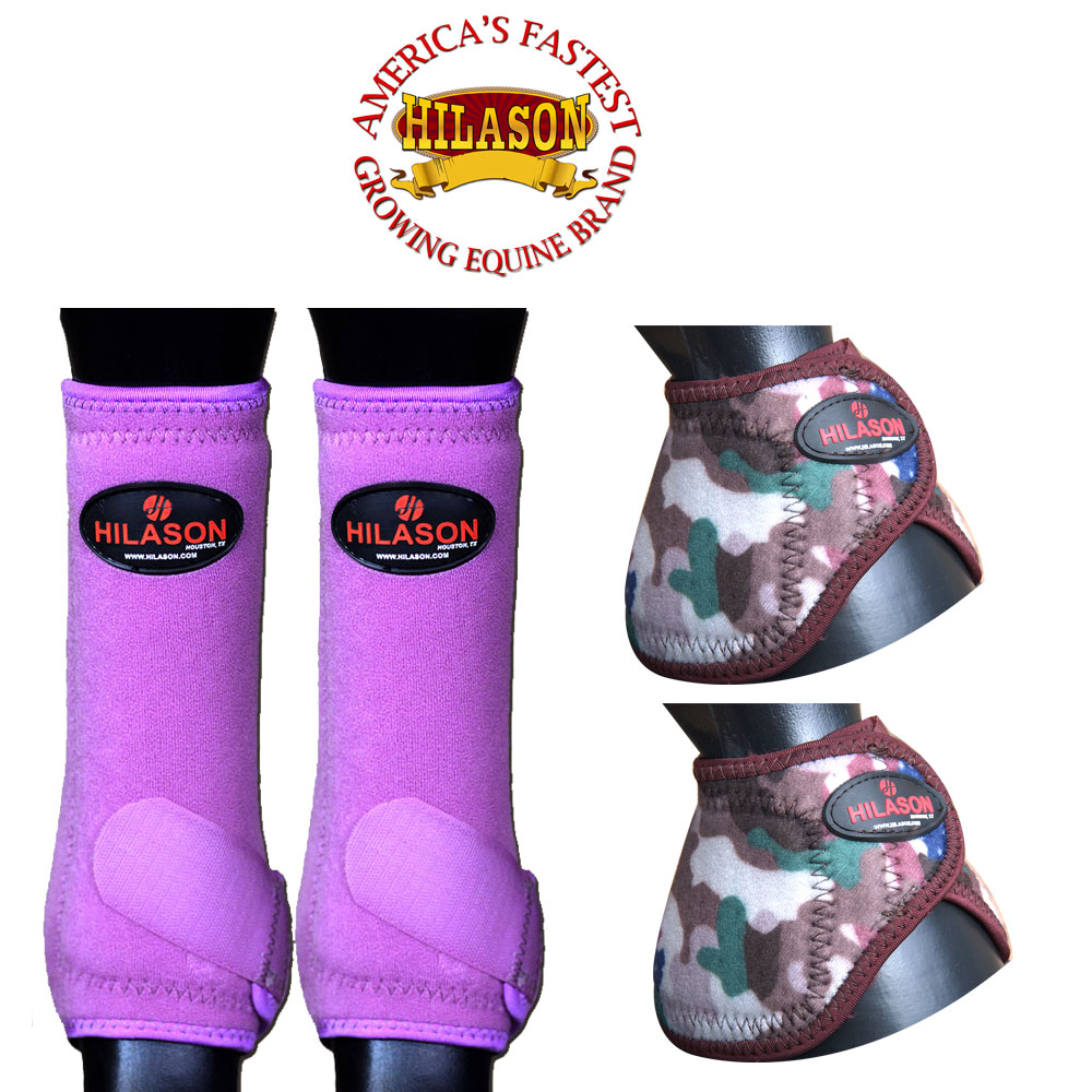 LARGE HILASON HORSE FRONT LEG SPORT BOOT BELL BOOTS PAIR PURPLE CAMOUFLAGE