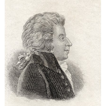 Wolfgang Amadeus Mozart 1756 To 1791 Austrian Composer And Musician From Crabbs Historical Dictionary Published 1825 Canvas Art - Ken Welsh Design Pics (14 x 15)
