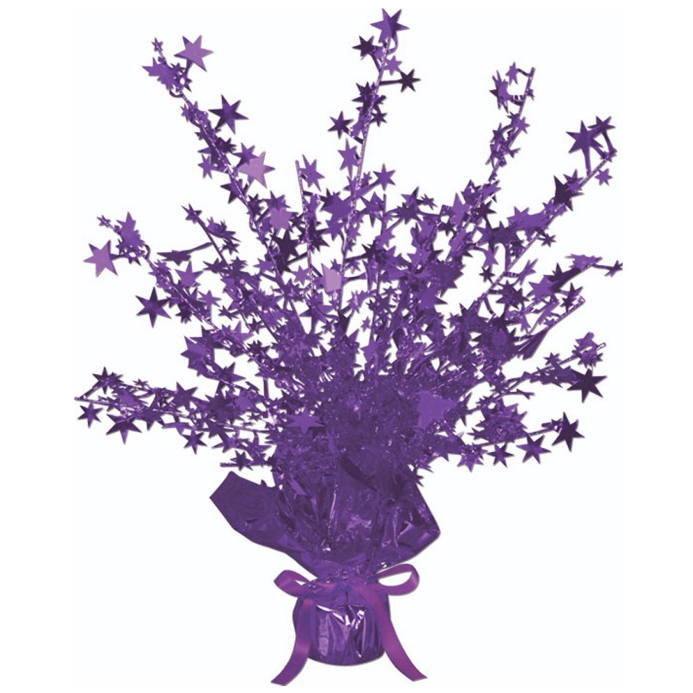 "Club Pack of 12 Purple Star Gleam 'N Burst Centerpiece Party Decorations 15"""