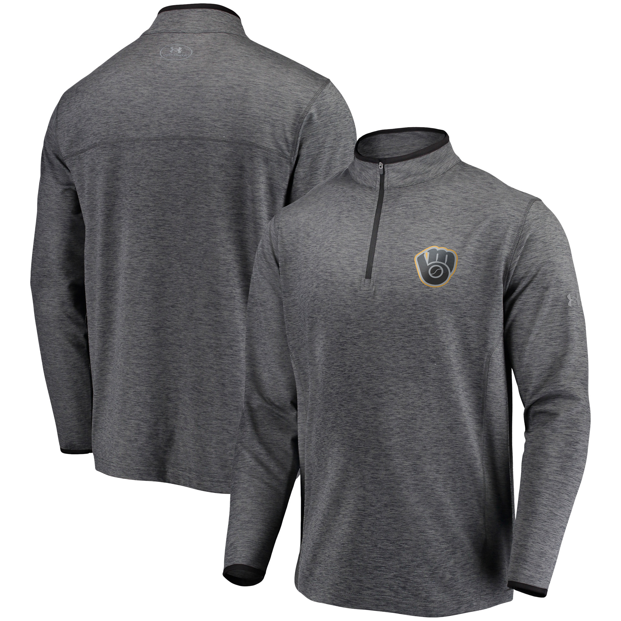 Milwaukee Brewers Under Armour Stretch Reflective Logo Performance Quarter-Zip Pullover Jacket - Heathered Charcoal
