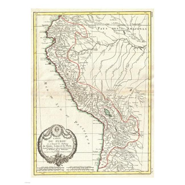 Pivot Publishing - A PPAPVP2662 1775 Bonne Map of Peru  Ecuador  Bolivia  and the Western Amazon -18 x 24- Poster Print