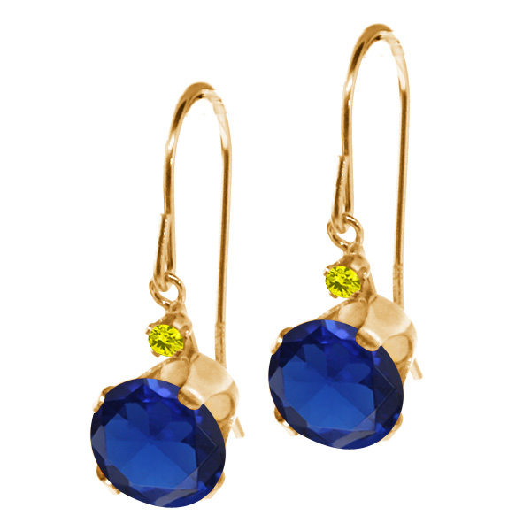2.03 Ct Round Blue Simulated Sapphire Canary Diamond 14K Yellow Gold Earrings