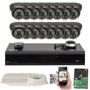 GW Security 16 Channel 4K NVR 5MP IP Camera Network PoE Surveillance System - (16) HD 1920P Weatherproof Dome Security Cameras (5MP is much higher than HD resolution of 1080p and 720p)