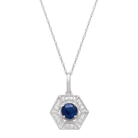 3/8 ct Natural Kanchanaburi Sapphire & 1/10 ct Diamond Hexagon Pendant Necklace in 14kt White Gold