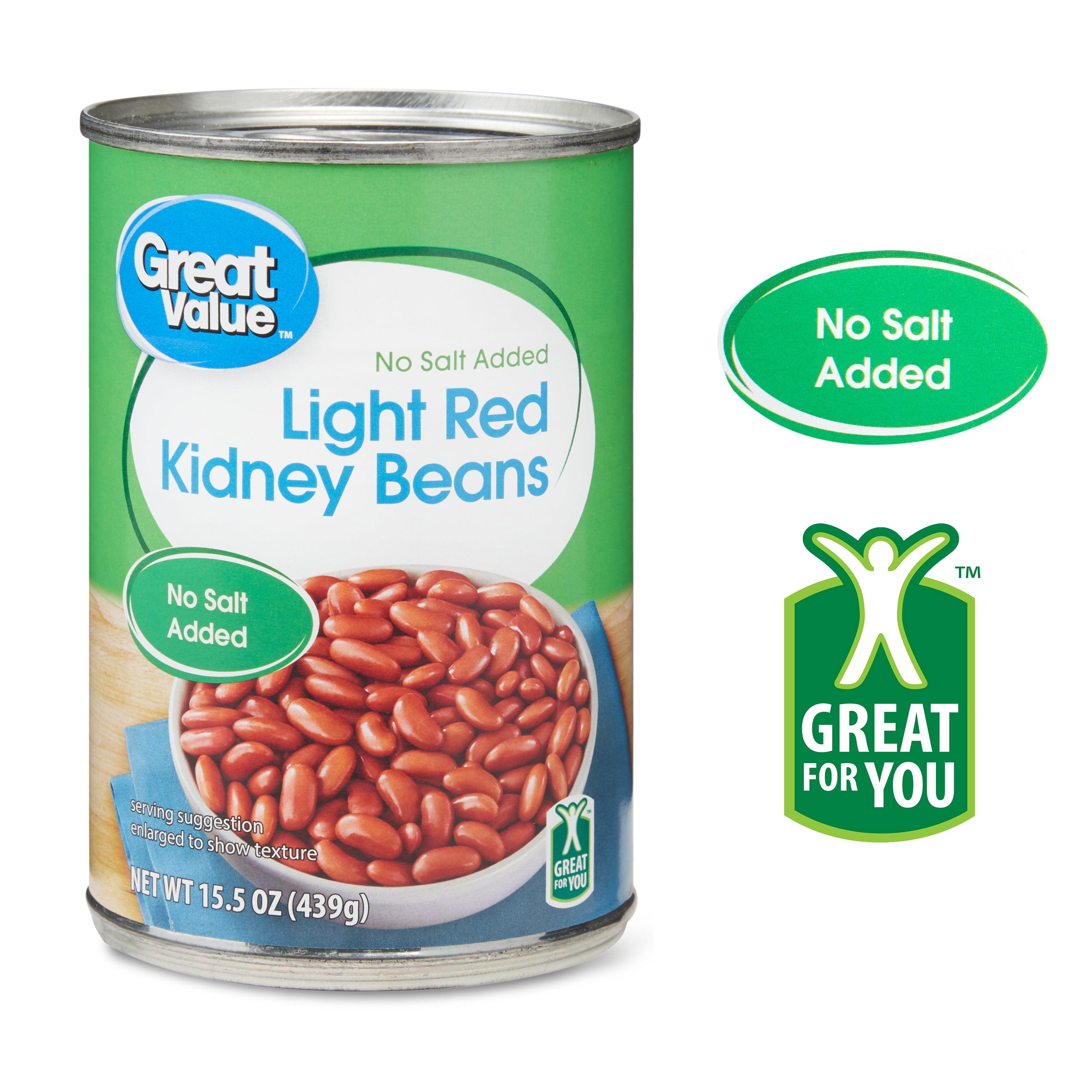 Great Value No Salt Added Light Red Kidney Beans 15 5 Oz Walmart Com Walmart Com