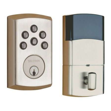 Baldwin Hardware Soho Single - Baldwin 8285056AC1 Lifetime Satin Nickel Soho Keyless Entry Single Cylinder Electronic Deadbolt