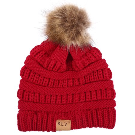 HERCHR 6 Colors Fashionable Knitted Cap Faux Raccoon Fur Pompom Winter Hat For Keeping Warm, Women Cap, Knitted Hat, Winter Hat](Raccoon Hat)