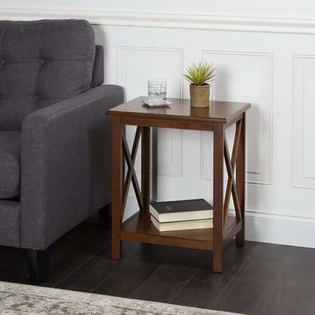 Better Homes & Gardens Accent Table Clayton Rectangle Wood X-Side Cherry Finish Cherry Veneers Accent Table