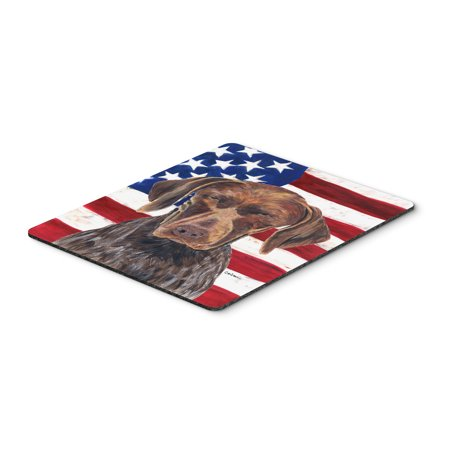 USA American Flag with German Shorthaired Pointer Mouse Pad, Hot Pad or Trivet