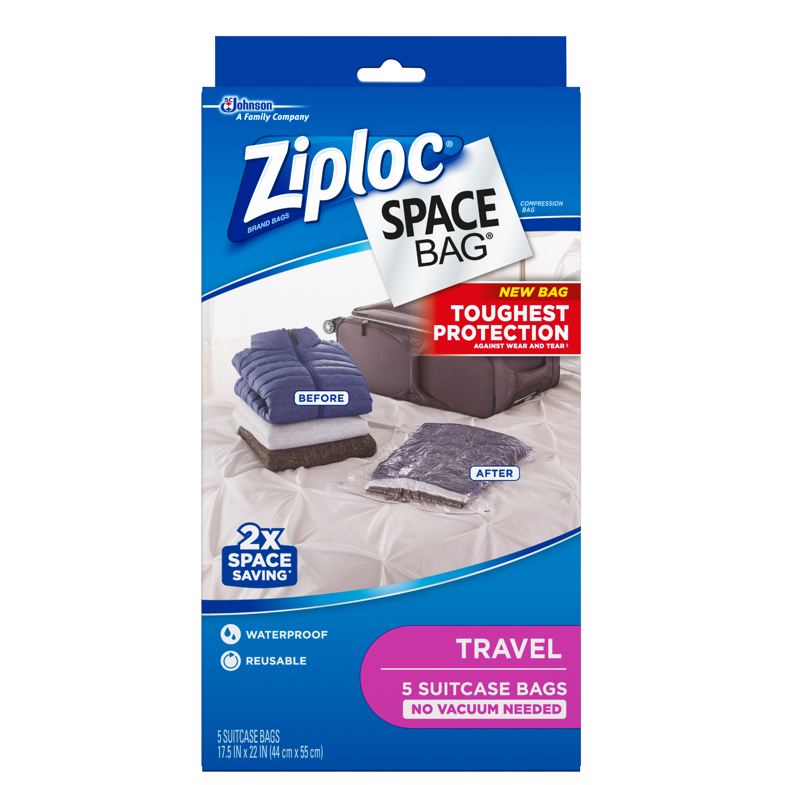Ziploc Space Bag Travel Bag 5 count