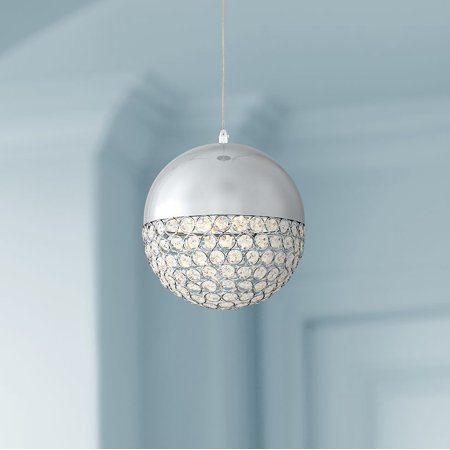 """Possini Euro Design Possini Euro Gigi 8"""" Wide Chrome LED Crystal Mini Pendant"""