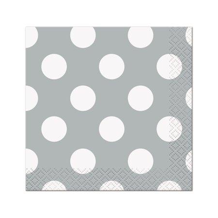 Polka Dot Paper Beverage Napkins, Silver, 16ct](Red Polka Dot Napkins)