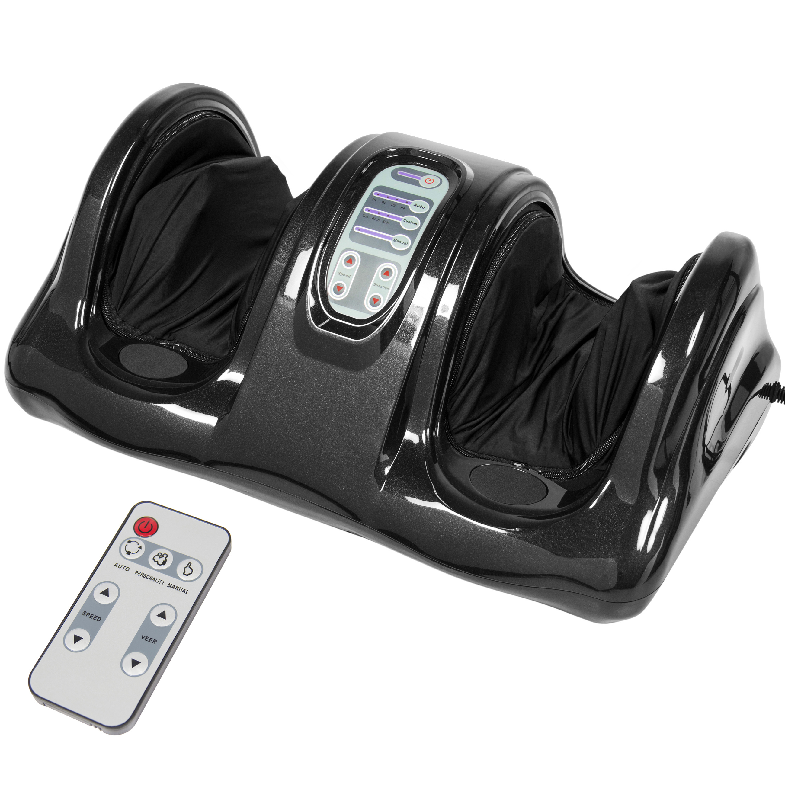 Shiatsu Foot Massager Kneading and Rolling Leg Calf Ankle w/Remote - Black