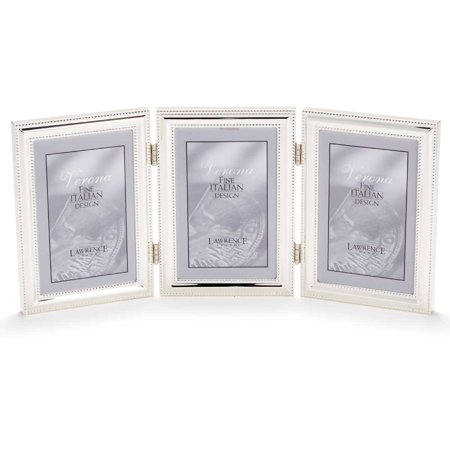 5x7 hinged triple vertical metal picture frame silver plate with delicate beading. Black Bedroom Furniture Sets. Home Design Ideas