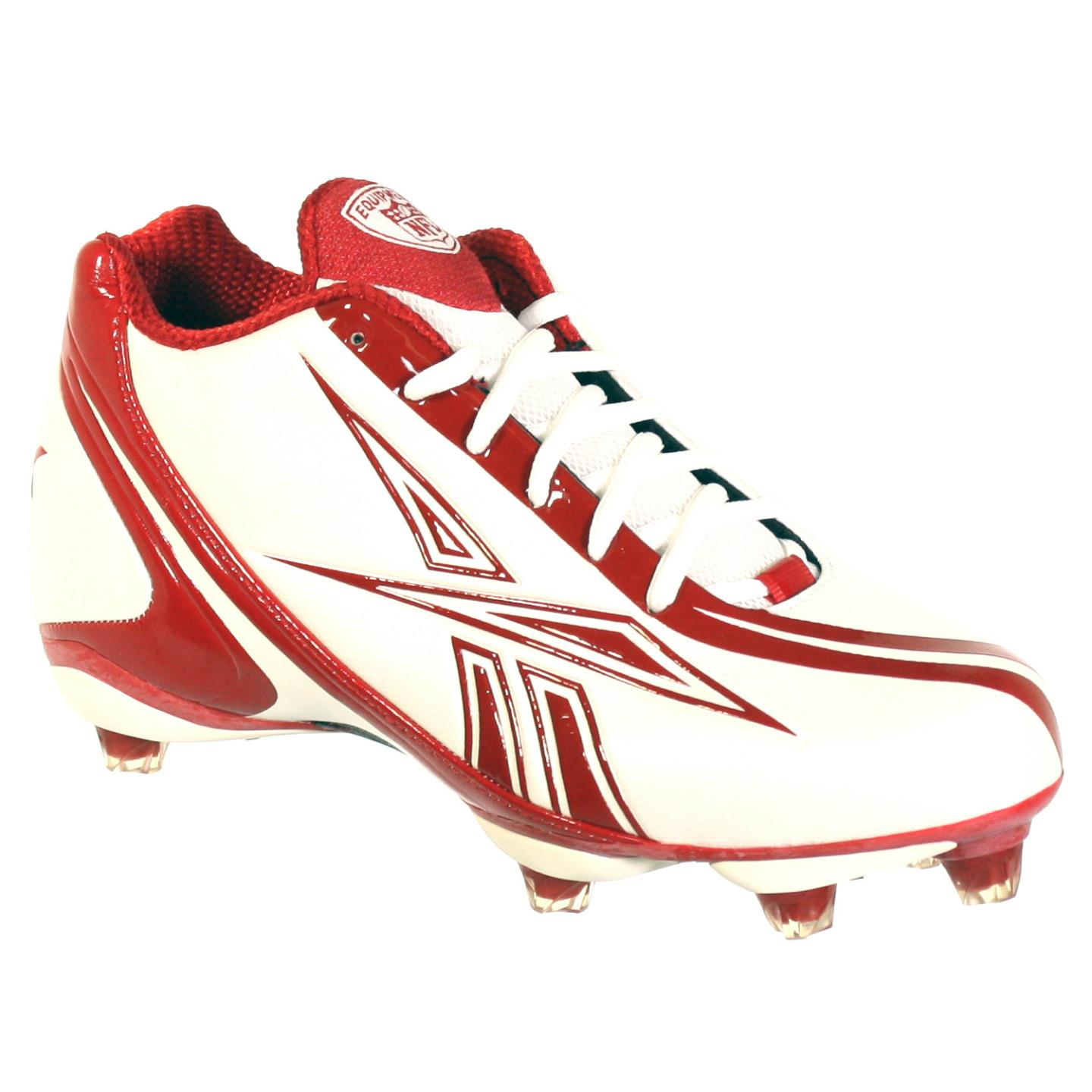REEBOK NFL BURNER SPEED 5/8 SD3 MENS FOOTBALL CLEATS WHITE RED 6.5