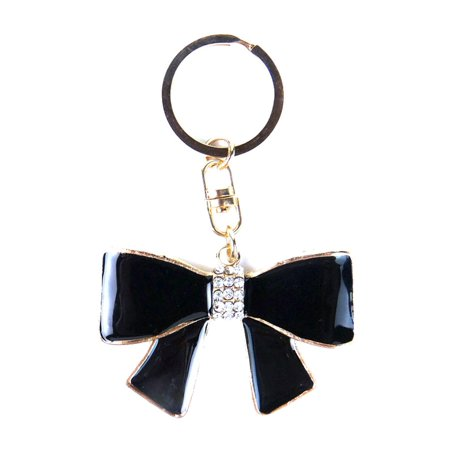 JAVOedge Black Bow with White Gemstones and Gold Outline Stylish Keychain / Keyring for Car, - Outline Bow